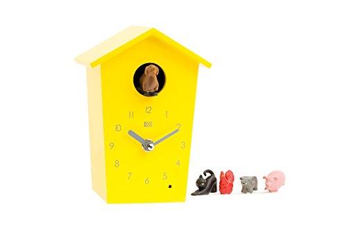 KOOKOO AnimalHouse Gelb Kuckucksuhr Wanduhr mit 5 Bauernhoftieren Aufnahmen aus der Natur moderne witzige design Uhr