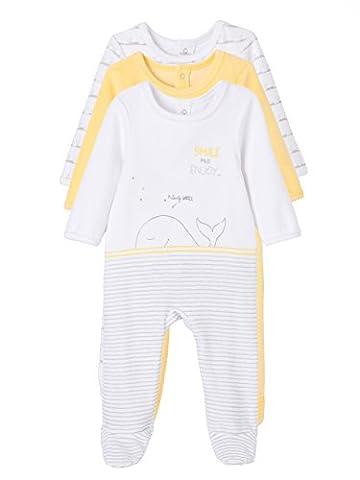 VERTBAUDET Lot de 3 pyjamas bébé en velours imprimé pressionnés dos Jaune pâle 1M - 54CM