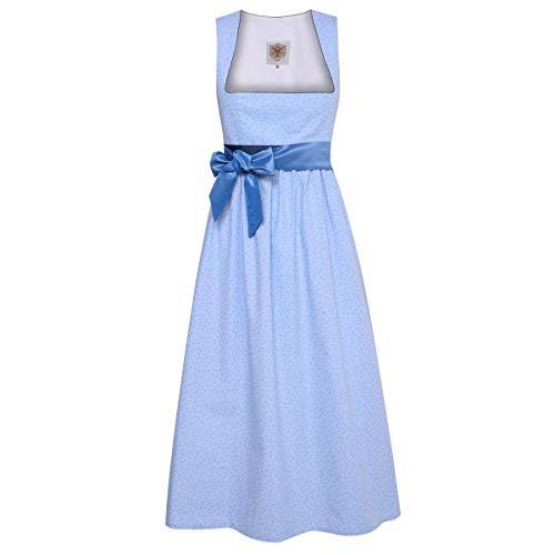 Schwangerschaftsdirndl Margaret in Hellblau mit Blumen und blauer Schleife