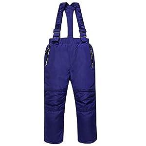 Skihose Schneehose für Kinder Ski-Hosen Winterhose Daunenhose – Taschen Abnehmbare Träger Verstärkte Knie Mädchen Jungen Schneedichte Hose