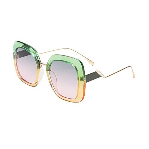 EUCoo Sonnenbrille Retro PersöNlichkeit Modell StraßE SchießEn Brille GroßEn Rahmen Metall Sonnenblende Strandspiegel (D)