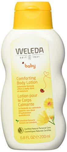 WELEDA Baby Calendula Pflegemilch, Naturkosmetik Körpermilch zur Pflege und Reinigung von trockener Haut, Pflegelotion für Babys und Kleinkinder (1 x 200 ml) -