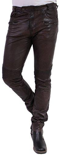 RICANO Franklin Herren Lederhose im 5-Pocket Stil (Jeans Optik) aus Ziegen Nappa Echtleder (Schwarz,...