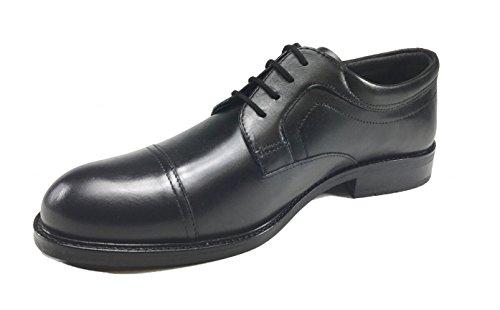 Scarpe uomo moda casual / elegante in VERA PELLE fondo gomma 45R03 Nero