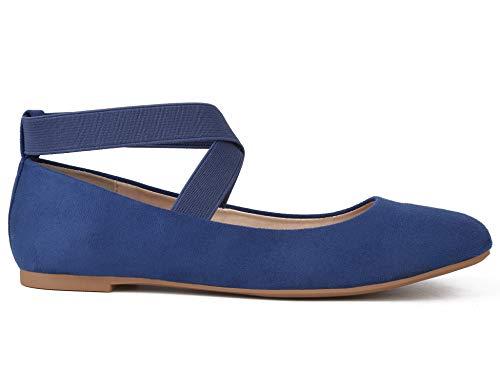 MaxMuxun Damen Geschlossene Ballerinas Flache elastische Band Schuhe Blau Größe 36 EU -