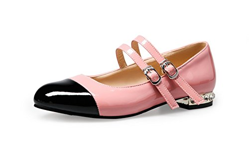 VogueZone009 Donna Tessuto Lucido Colore Assortito Fibbia Punta Tonda Ballet-Flats, Rosa, 35