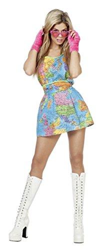 Damen Kostüm Weltbürgerin Globus Kleid Karneval Fasching Gr.38 (Globus Kostüm)