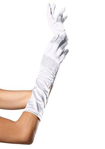 Leg Avenue 8B - Satin Handschuhe, weiß (Länge Ellenbogen Satin-abend-handschuhe)