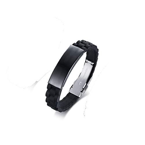 Asmei Gebogenes Marken-Silikonarmband aus Edelstahl Hypoallergen (Color : Black)