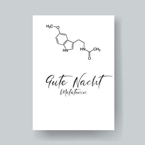 Melatonin Strukturformel Kunstdruck Gute Nacht lustige Geschenkidee ungerahmt -