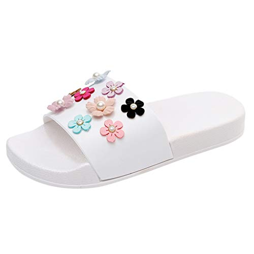 ZIYOU Damen Blume Pantoffeln Frauen Mode Strandschuhe Flache Dicke Flip Flops Hausschuhe Sandalen (Weiß,40 EU)
