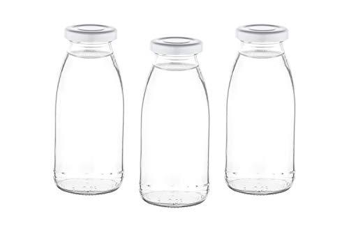 24 x 250 ml Leere Glasflaschen MIL Milchflaschen kleine Saftflasche mit Schraubverschluss 0,25 Liter l von slkfactory (24 Stück)