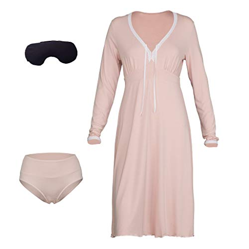 Natissy Damen Nachthemd Gr. Small, Rose - Rose Flanell-pyjama