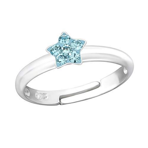 Kinder Ring 925 Echt Silber Mädchen Fingerring Emaille Kristalle Verstellbar (Stern CZ Blau / 5mm)