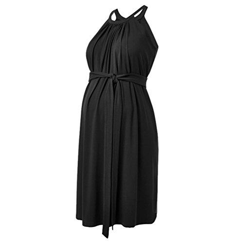 Binhee Schwangere Frauen Sommerkleid Sleeveless Hanging Neck Rock Mode Mom Abendkleid