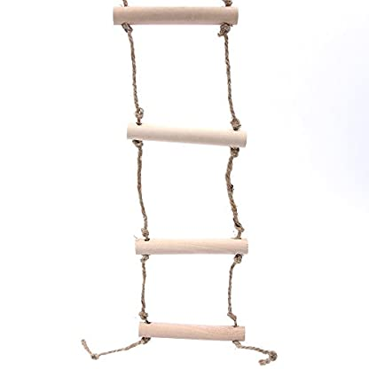 2 Pcs Small Parrot Rat Toy Bridge Ladder Hamster Bird Cage Accessories Wood Color by GOOTRADES 1