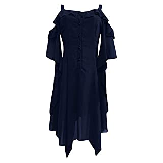 Lace Vintage Dress,Women Long Sleeve Solid Dress Punk Vintage Party Gothic Rockabilly Swing Dresses Elegant Gown Dress Off The Shoulder Mid Length Dress Navy