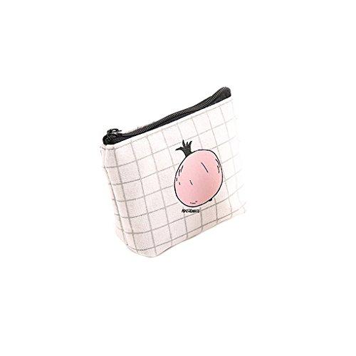LUFA Sacchetto della matita del sacchetto della penna di immagazzinamento della borsa della moneta della carta del raccoglitore della tela di canapa della zucca di stampa di frutta per le studentesse  rete melograno
