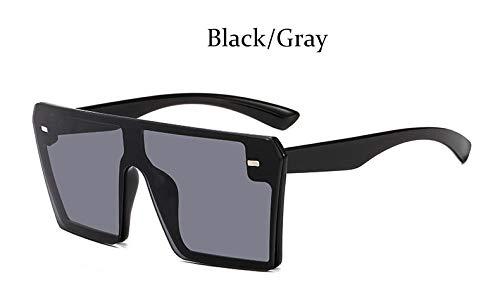 SLONGK Eckige Sonnenbrille Übergroße Damen Randloser Spiegel Große Sonnenbrille Damen Schwarze Sonnenbrille Herren Flat Top Unisex Uv400