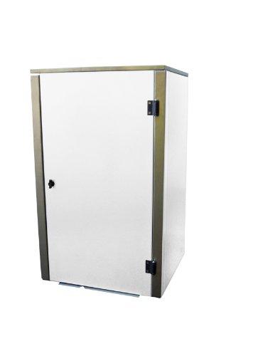 Mülltonnenbox Edelstahl, Modell Eleganza G, 120 Liter, in Weiß RAL 9016 (Pulverbeschichtet)