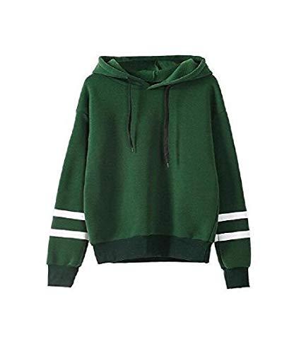 CuteRose Womens Regular Leisure Striped Comfort Baggy Style Hoodie Jacket Green 2XL (Womens Aeropostale Hoodie-xxl)