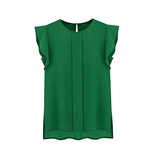 Damen Bluse, GJKK Damen Beiläufige Lose Chiffon Kurze Tulip Ärmel O-Ausschnitt Blusen Hemd Oberseiten Sweatshirt Bluse Tops (Grün, M)