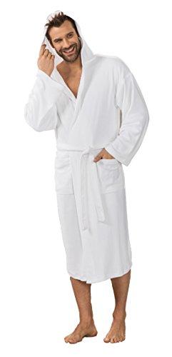 Hôtel Peignoir de bain de voyage Manteau pour femme & homme–Unisexe en 5couleurs: Gris, rose, menthe, turquoise et blanc Tailles: M–XXL, Polyester, blanc, Large