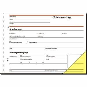 Sigel Formularbuch Urlaubsantrag A5 selbstdurchschreibend 2-fach VE=2x40 Blatt