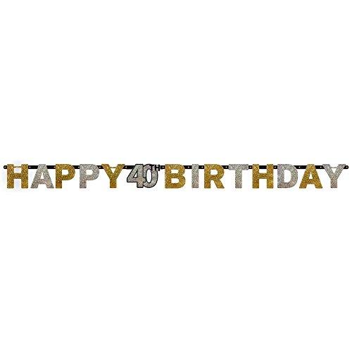 amscan 120204 Prismatischer Buchstaben-Banner, goldfarben, zum 40. Geburtstag, Happy Birthday, 2,4 m x 16 ()