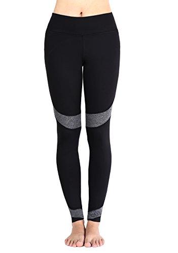 Munvot Yoga Hose für Damen Hohe Taille - Workout Strumpfhose Knöchel Gamaschen Schwarz (Schwarz Grau, M)