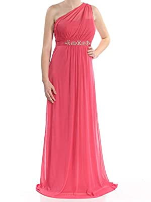 Adrianna Papell Womens Coral Embellished One Shoulder Gown Asymmetrical Neckline Full-Length Evening Dress Size: 8