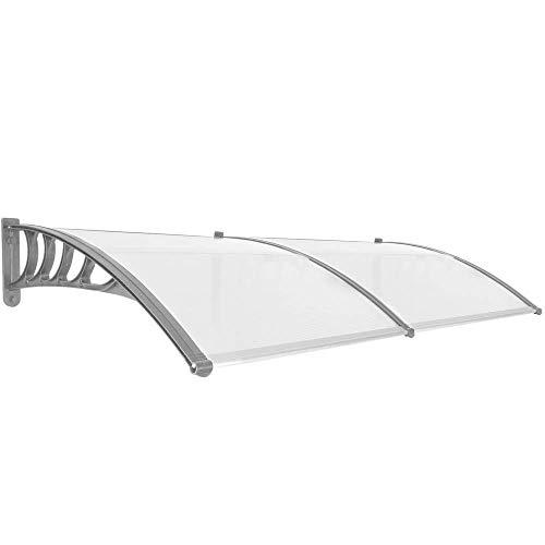 Primematik - pensilina tettoia in policarbonato per porta o finestra per esterno grigio 200x90cm