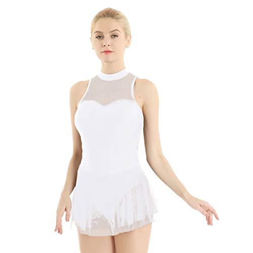 Kostüm Dance Lyrical - Mesh Splice Strass Ballett Gymnastik Trikot Frauen Erwachsene Eiskunstlauf Kleid Body Lyrical Dance Kostüme (Color : White)