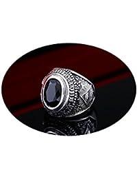Beydodo Herren Ring Titan Ziege Schwarz/Blau Stein Zirkonia Freundschaftsringe Partner Ring