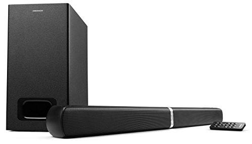MEDION LIFE E64126 MD 80122 2.1 Bluetooth Soundbar (2 x 20 Watt, 30 Watt Subwoofer, NFC, AUX, optischer Eingang, HDMI) schwarz (Subwoofer Mit Sound Bar)