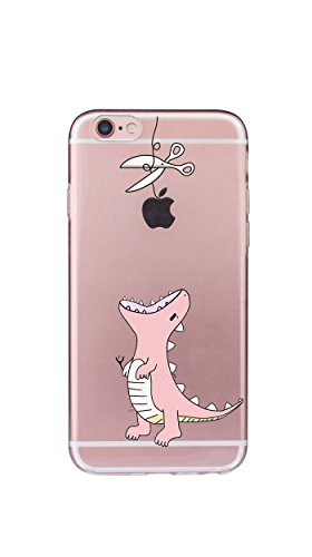 Case Cover Per iphone 6 6S 4.7 pollici Trasparente TPU Gel Silicone Bumper Protettivo Skin Custodia Ultra-sottile Flessibile morbido Protettiva Shell(Ragazza) Dinosauro rosa