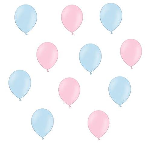 50 x Luftballons je 25 Hellblau & Rosa / Pink - ca. Ø 28cm - 50 Stück - Ballons als Deko, Party, Fest, Baby, Junge, Mädchen, Geburt, Hochzeit - Farbe Hell blau & Rosa / Pink - für Helium geeignet -