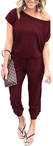 PRETTYGARDEN Women's Loose Solid Off Shoulder Elastic Waist Stretchy Long Romper Jumpsuit with Poc