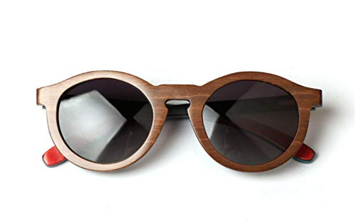 Daawqee Round Colour Skateboard Wood Polarized Sunglasses For Women Men Vintage UV400 Eyewear Women Bamboo Glasses Brown frame