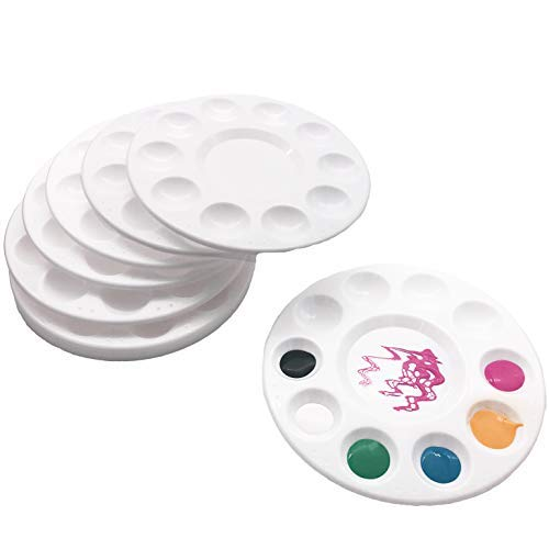Bright Silver 12 Pcs Round Paint Tray Palette 11 Wells 6.7 inchÃ'for DIY Craft Professional Art Painting (Paint 12 Tray)