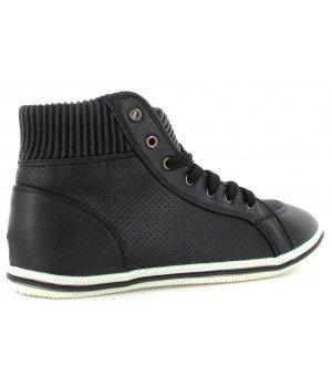 Chaussure Bas Prix - Baskets montantes, imitation cuir - CL16801-1 Noir
