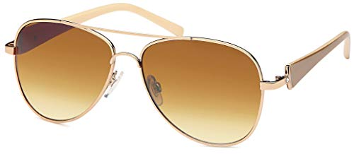 Hatstar elegante Damen Pilotenbrille getönt, Sonnenbrille mit lackierten Bügeln und Strassstein (POLARISIERT | Rahmen Gold-Braun - Glas Braun Verlaufend)
