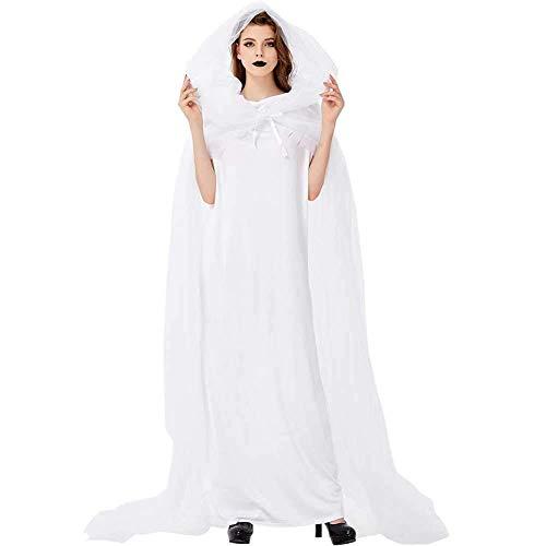 GWNJSSX White Ghost Bride Hexenkostüm,Halloween Night Damen Wandering Soul Langes Cosplay Kleid Lady Perform - Gespenstische Geist Ghost Kostüm