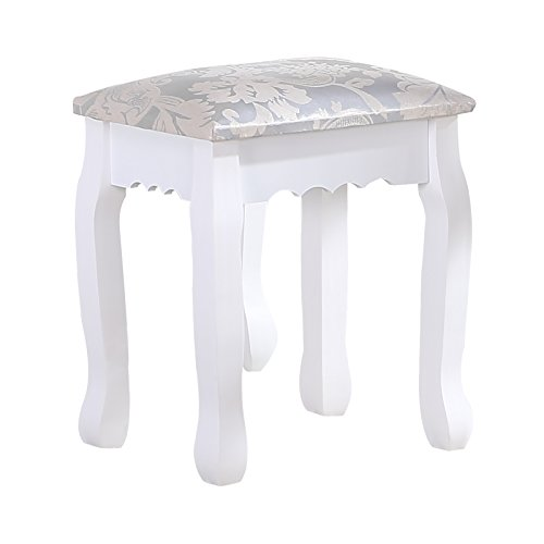 UEnjoy White Dressing Table Stool Padded Piano Chair Makeup Seat