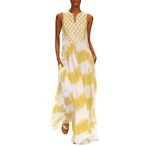 Griechische Kostüm Muster - MAYOGO Kleid Damen Sommer Lang Elegant Schick Große Größen Ärmellose Maxikleid Schmetterling Muster Casual Cool Leichte Kleider mit Tasche S-5XL