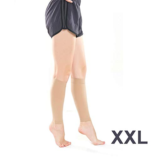 Wovemster Frau Sock,Anti-gebogene Wade, Elastische, Rutschfeste Hülse Sekundäre Kompressions Socken (23-32 Mmhg),XXL(Hautfarbe) -