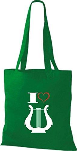 Shirtstown Stoffbeutel Musik I love Hand Harfe Harp Kelly
