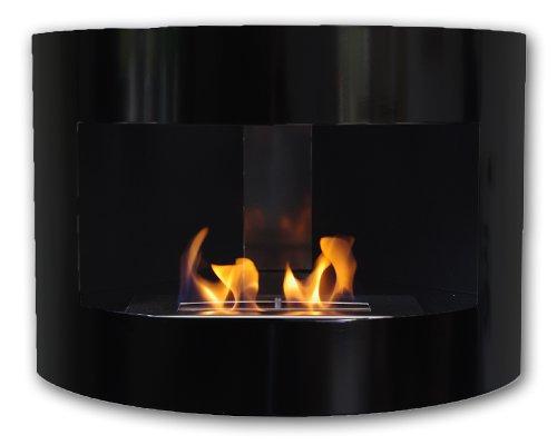 Gel y etanol chimenea esquina Riviera Deluxe Negro chimenea de pared chimenea de acero + quemador 1 litro
