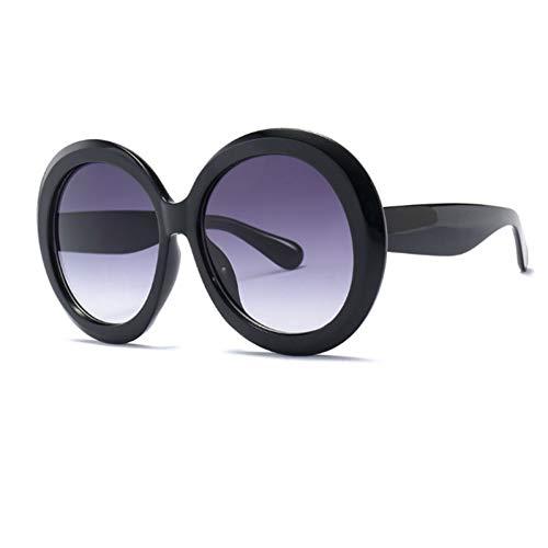TJJQT Sonnenbrillen Übergroße runde große Schwarze Farbton-Sonnenbrille-Frauen-ovale Sonnenbrille-weibliche Gläser-männliche Sonnenbrille Uv