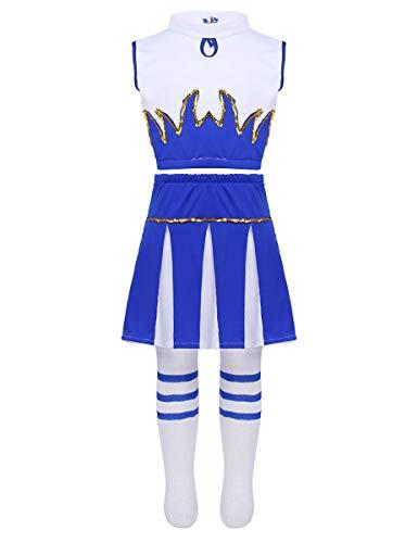iEFiEL Kinder Mädchen Cheerleading Cheerleaderin Kostüm Crop Top, Mini Falten Rock, Socken Uniform Set Fasching Karneval Party Kostüm Cosplay Weiß & Blau - Blauer Mini Rock Kostüm
